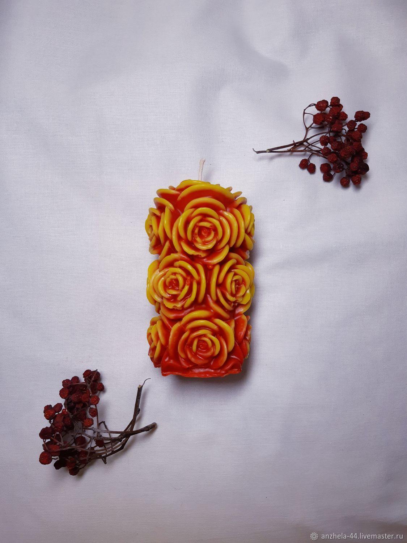 Красно-желтая литая свеча в форме букета из роз, Свечи, Калининград,  Фото №1