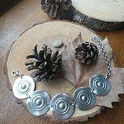 Украшения handmade. Livemaster - original item Silver-plated bracelet Pancakes. Handmade.