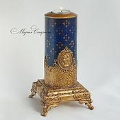 """Для дома и интерьера ручной работы. Ярмарка Мастеров - ручная работа Старинный подсвечник """"Royal blue"""". Handmade."""