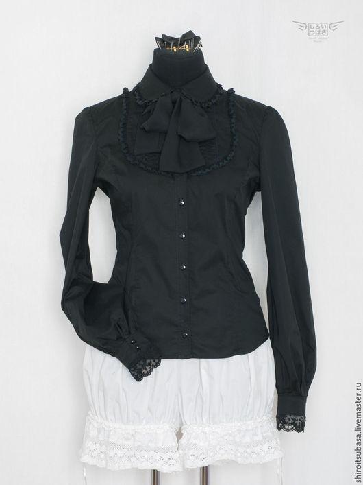 Блузки ручной работы. Ярмарка Мастеров - ручная работа. Купить Готическая блузка, длинный рукав (B3/CW6). Handmade. Однотонный, кружево