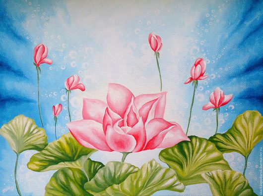 """Картины цветов ручной работы. Ярмарка Мастеров - ручная работа. Купить картина """"Легенда о Лотосе"""". Handmade. Картина в подарок, цветы"""