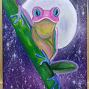 Картины и панно handmade. Livemaster - original item Painting on canvas. frog.. Handmade.