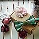 Галстуки, бабочки ручной работы. Ярмарка Мастеров - ручная работа. Купить Готовая двусторонняя галстук-бабочка Зеленый сад.. Handmade.
