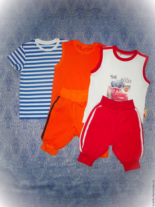 Одежда для мальчиков, ручной работы. Ярмарка Мастеров - ручная работа. Купить Комплекты. Handmade. Комбинированный, белый, футболка, футболка для мальчика
