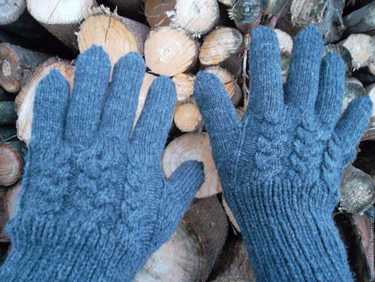 Варежки, митенки, перчатки ручной работы. Ярмарка Мастеров - ручная работа. Купить перчатки мужские вязаные Графит. Handmade.