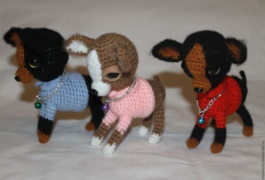 Куклы и игрушки ручной работы. Ярмарка Мастеров - ручная работа. Купить Мини собачки Чихуашки. Handmade. Комбинированный, вязаная игрушка