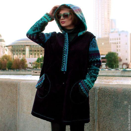 Верхняя одежда ручной работы. Ярмарка Мастеров - ручная работа. Купить Пальто бархатное:). Handmade. Тёмно-фиолетовый, яркое пальто