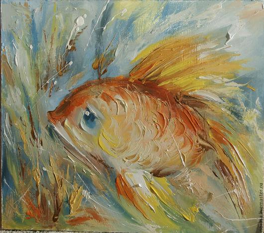 Фантазийные сюжеты ручной работы. Ярмарка Мастеров - ручная работа. Купить Рыбка золотая .. Handmade. Разноцветный, картина, картина в подарок