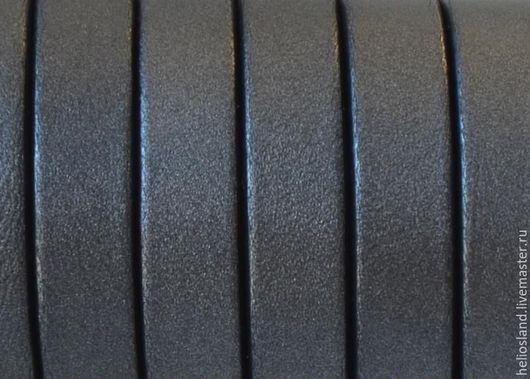 Для украшений ручной работы. Ярмарка Мастеров - ручная работа. Купить Кожаный шнур плоский 10 мм античное серебро. Handmade.