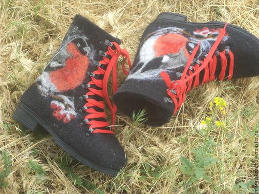 Обувь ручной работы. Ярмарка Мастеров - ручная работа. Купить ботинки валяные снегирь. Handmade. Черный, новый год рождество