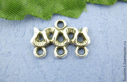 Коннектор 1в3, цвет - серебро, бронза. Фурнитура для создания украшений. Busimir
