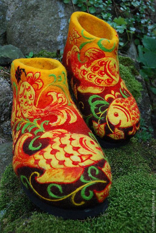 Обувь ручной работы. Ярмарка Мастеров - ручная работа. Купить Тапковаленки «Золотые рыбки» Хохлома. Handmade. Валенки, шерсть 100%