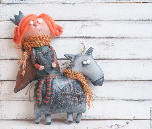 кукла в подарок, авторская кукла, смешная кукла, грунтованный текстиль, принцесса на коне, забавный подарок
