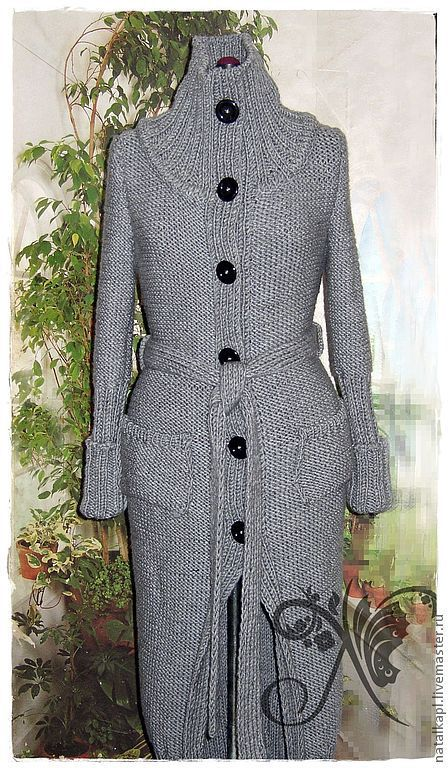 Верхняя одежда ручной работы. Ярмарка Мастеров - ручная работа. Купить Вязаное пальто. Handmade. Серый, пальто, осенняя мода