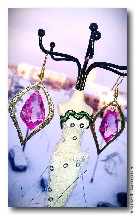 """Серьги ручной работы. Ярмарка Мастеров - ручная работа. Купить Серьги """" Шери """" с розовыми топазами. Handmade. Розовый"""