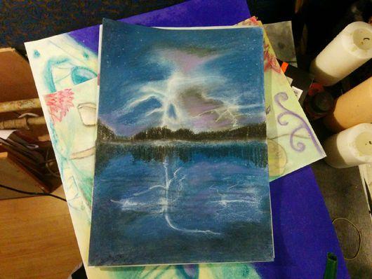 Пейзаж ручной работы. Ярмарка Мастеров - ручная работа. Купить Молния. Handmade. Молния, гроза, пейзаж, водоем, отражение, лес