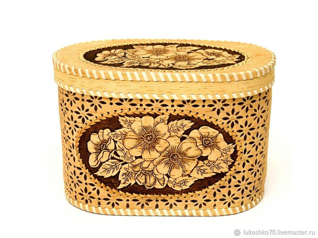 Bread box made of birch bark ' Flowers'. Box of birch bark carved, The bins, Tomsk,  Фото №1