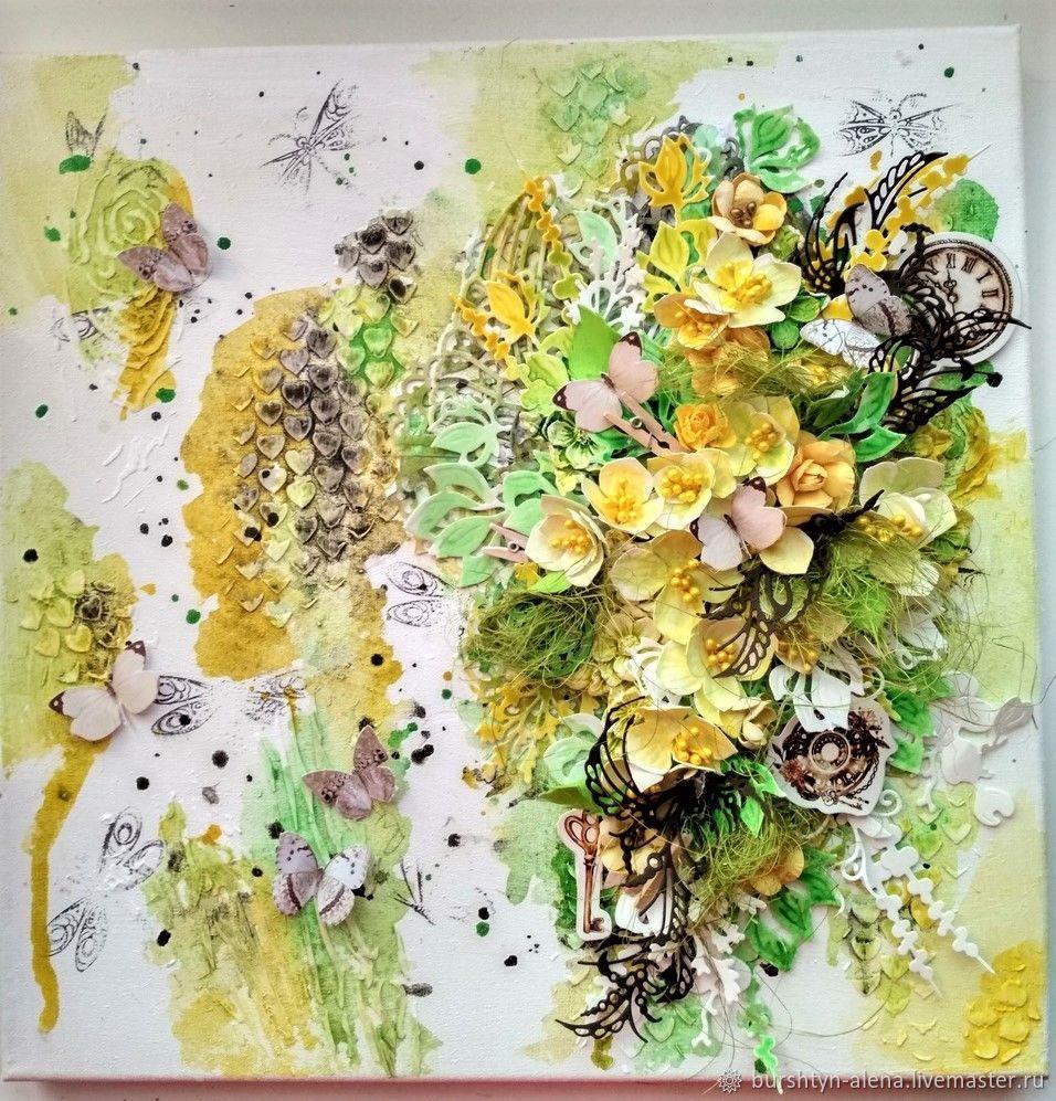 Панно с цветами объемное желтое зеленое, Панно, Пинск,  Фото №1