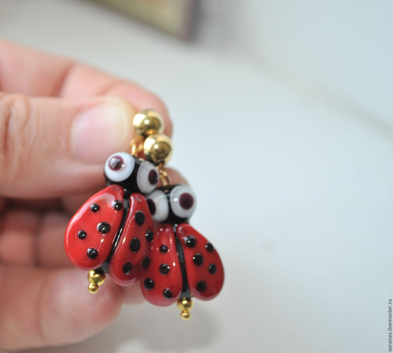 Earrings with bead lampwork 'ladybug', Earrings, Moscow,  Фото №1