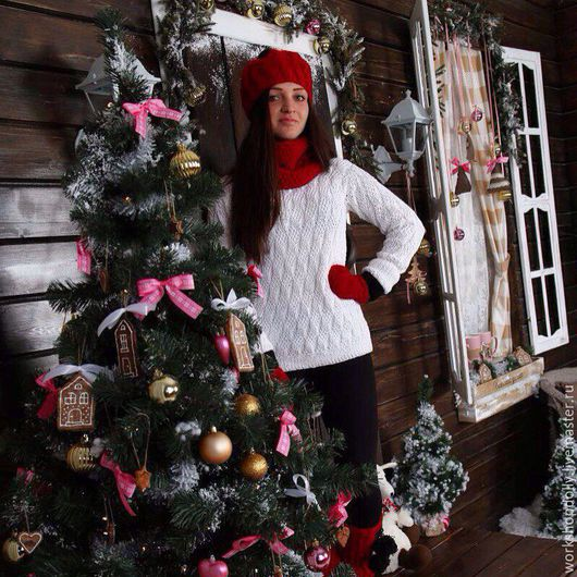 Кофты и свитера ручной работы. Ярмарка Мастеров - ручная работа. Купить Хлопковый белый свитер с ажурным узором. Handmade. Белый