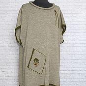 handmade. Livemaster - original item Boho tunic linen silk mohair p 46-54 Straw summer. Handmade.