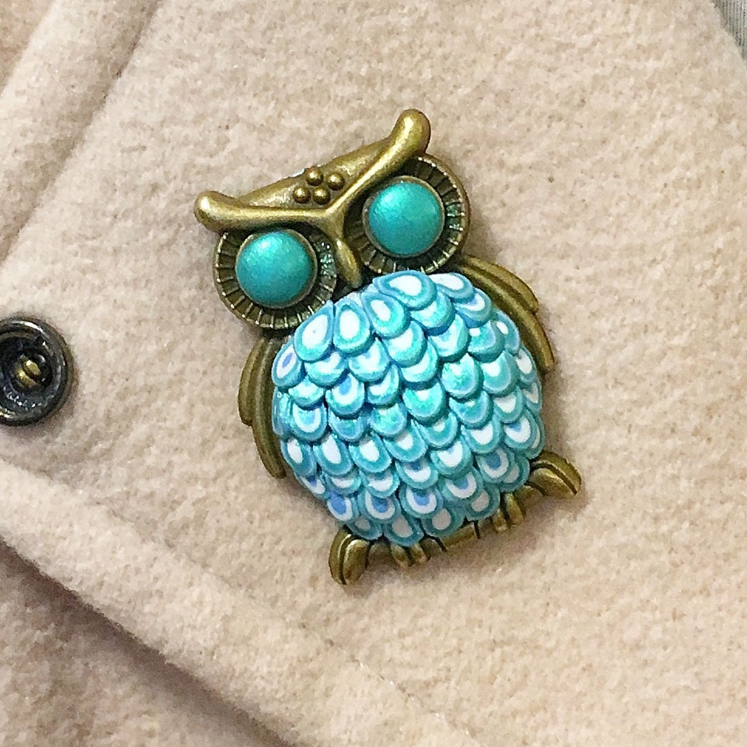 Turquoise blue owl brooch made of polymer clay, Brooches, St. Petersburg,  Фото №1