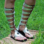 Сапоги ручной работы. Ярмарка Мастеров - ручная работа Гладиаторы серебряные из кожи со шнуровкой. Handmade.
