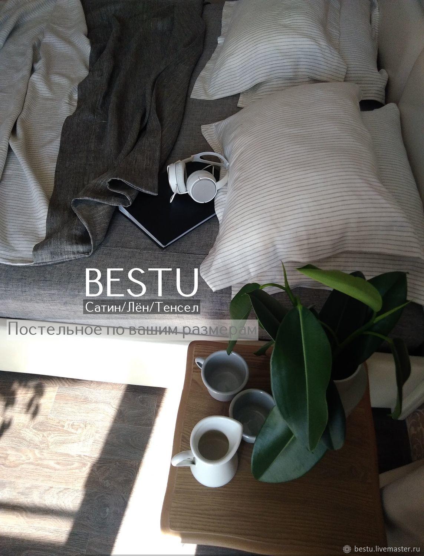 """Постельное бельё льняное """"Полосатый рейс"""" умягченный лен, Комплекты постельного белья, Тольятти,  Фото №1"""
