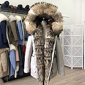 Одежда handmade. Livemaster - original item Parka color stone with natural raccoon fur and Voile Arctic Fox. Handmade.