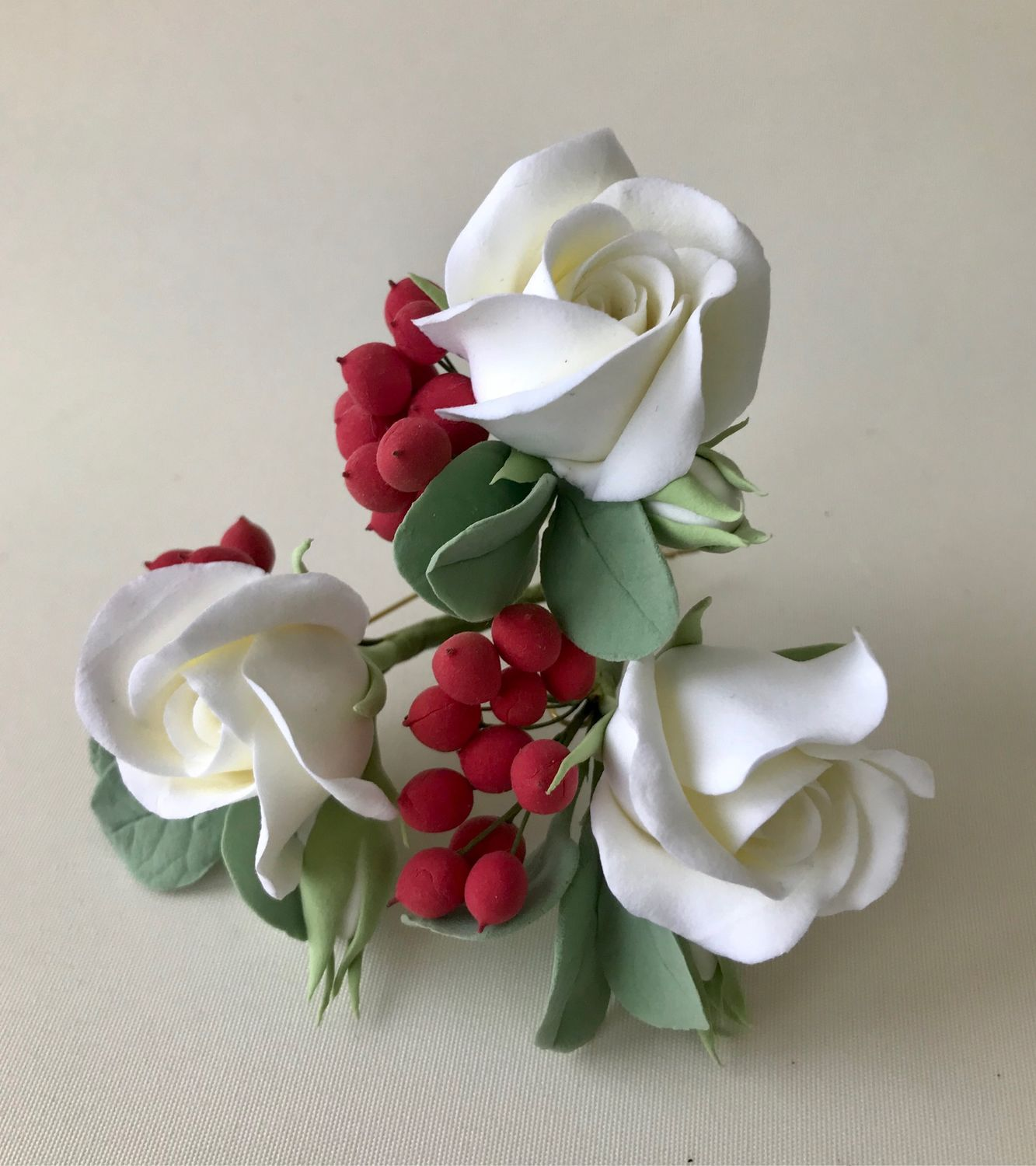 Studs with white roses, eucalyptus leaves and red berries, Hair Decoration, Voskresensk,  Фото №1