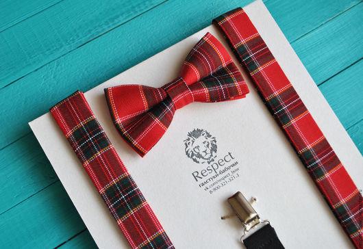 Комплекты аксессуаров ручной работы. Ярмарка Мастеров - ручная работа. Купить Галстук бабочка красная из шотландской клетки + Подтяжки Роял Стюарт. Handmade.