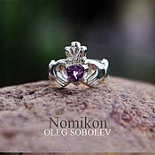Украшения handmade. Livemaster - original item Kladenske ring with heart amethyst or garnet. Handmade.