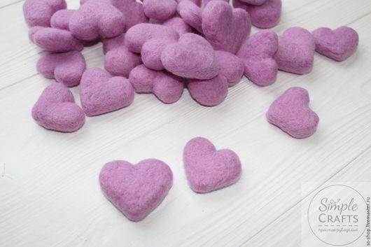 Валяние ручной работы. Ярмарка Мастеров - ручная работа. Купить Войлочное сердечко светлая фиалка (сердце из шерсти). Handmade. Шерсть