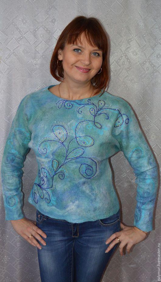 Кофты и свитера ручной работы. Ярмарка Мастеров - ручная работа. Купить Валяный свитер. Handmade. Синий, валяная одежда, для женщин