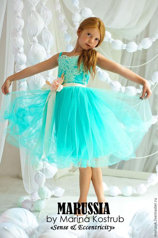Одежда для девочек, ручной работы. Ярмарка Мастеров - ручная работа. Купить Платье РЧ-29. Handmade. Бирюзовый, платье для девочки