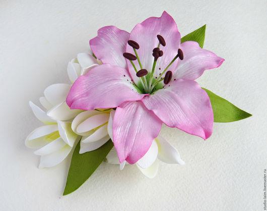 Заколка с цветами, украшение для волос, красивая заколка для волос купить, заколки с цветком из фоамирана, мастер Любовь Амосова