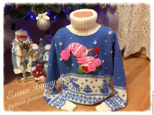 """Одежда для девочек, ручной работы. Ярмарка Мастеров - ручная работа. Купить Теплый свитер """"Снеговик"""". Handmade. Комбинированный, свитер"""
