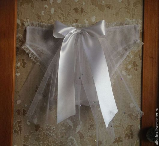 Белье ручной работы. Ярмарка Мастеров - ручная работа. Купить Свадебные трусики с фатой и бантом, ручная работа. Handmade. Белый