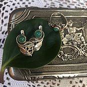 Винтажные комплекты украшений ручной работы. Ярмарка Мастеров - ручная работа Серьги и кольцо с хризопразами 875 проба. Handmade.