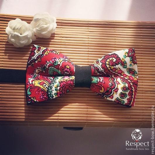 Галстуки, бабочки ручной работы. Ярмарка Мастеров - ручная работа. Купить Галстук бабочка Красная флора / бабочка галстук с цветочками красными. Handmade.