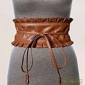 Аксессуары handmade. Livemaster - original item Wide Obi belt with ruffles made of genuine leather. Handmade.