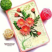 """Открытки ручной работы. Ярмарка Мастеров - ручная работа Открытка """"Розовый букет"""" в технике квиллинг. Handmade."""