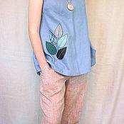 Одежда ручной работы. Ярмарка Мастеров - ручная работа Туника блуза из льна серо-голубая Арт 123-f с аппликацией. Handmade.