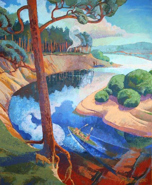 """Пейзаж ручной работы. Ярмарка Мастеров - ручная работа. Купить Картина """"Байдарочный поход"""". Handmade. Река, картина, сосны, небо"""