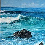 Картины и панно handmade. Livemaster - original item Oil painting Emerald sea 70h90 cm. Handmade.