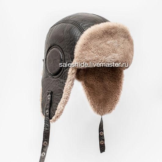 Шапки ручной работы. Ярмарка Мастеров - ручная работа. Купить Мужской шлем Авиатор из меха овчины и натуральной кожи. Handmade.