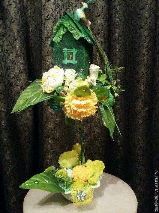 """Топиарии ручной работы. Ярмарка Мастеров - ручная работа. Купить Топиарий """"Зеленый домик Счастья"""", дерево счастья. Handmade."""