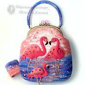 Сумки и аксессуары handmade. Livemaster - original item Bag-Flamingo / women`s felted purse / bag from a wool / Flamingo. Handmade.