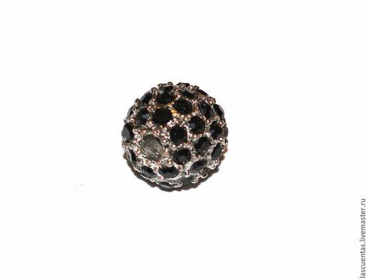 Для украшений ручной работы. Ярмарка Мастеров - ручная работа. Купить Бусина со стразами 10 мм цвет серебро с черными стразами. Handmade.