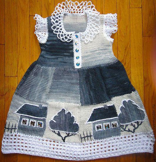 """Одежда для девочек, ручной работы. Ярмарка Мастеров - ручная работа. Купить Платье """"Домики"""" детское в авторской технике. Handmade. Платье"""